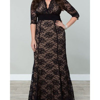 Brief V-Neck Plus Size Half Sleeve Lace Dress For Women