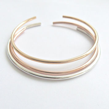 Gold Cuff Bracelet Rose Gold Bangle Sterling Silver Bangle Thick Metal cuff Stacking Bracelets