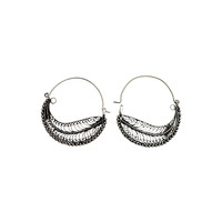 Chand Bali Small Feather Sterling Silver Hoop Earring