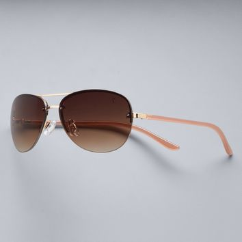 Simply Vera Vera Wang Marnie Rimless Aviator Sunglasses