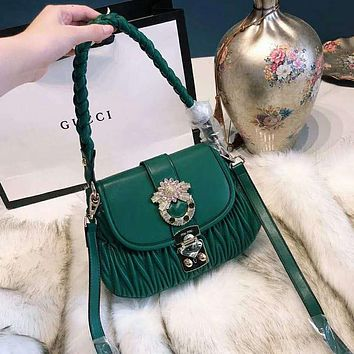 Miu Miu Fashion Women Leather Handbag Tote Shoulder Bag Crossbody Satchel Green