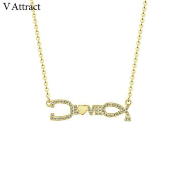V Attract Cubic Zirconia Love Stethoscope Charm Necklace Pendant Vintage Jewelry Small Heart Statement Choker Kolye Bayan
