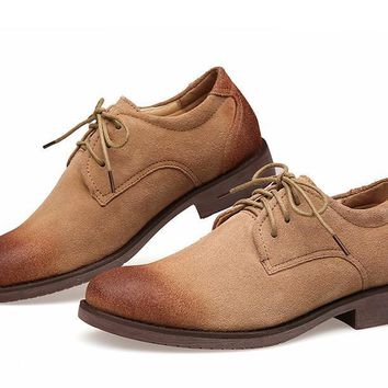 Mens Nubuck Leather Lace Up Oxford Chukka