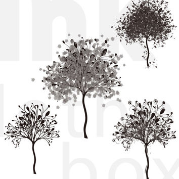 Personal and Commercial Use Winter Tree Digital Stamp/Graphic/Clipart! Four Types.