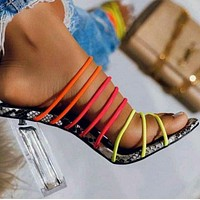 Hot style color thin band crystal thick ultra high heel flip-flops shoes