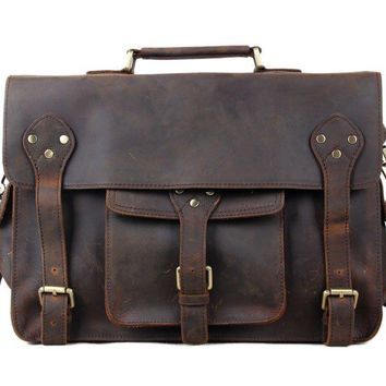 BLUESEBE MEN HANDMADE GENUINE LEATHER VINTAGE SATCHEL/MESSENGER BAG 7200