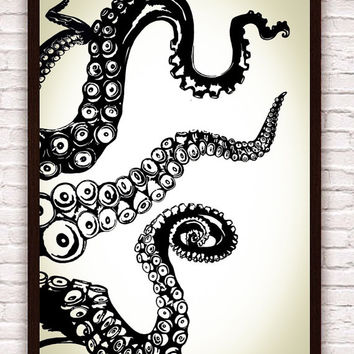 Octopus Kraken Tentacles // Nautical Ocean Wall Art // Home Decor / Beach  Decor