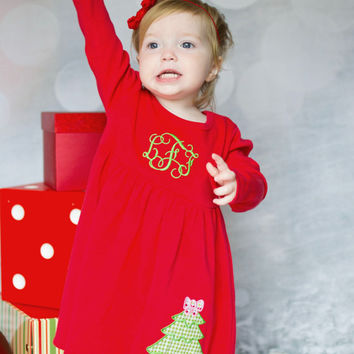 f793d127b2cd7 Christmas Dress, Monogrammed Christmas Tree Dress, Christmas Knit Dress, Appliqued  Dress, Toddler