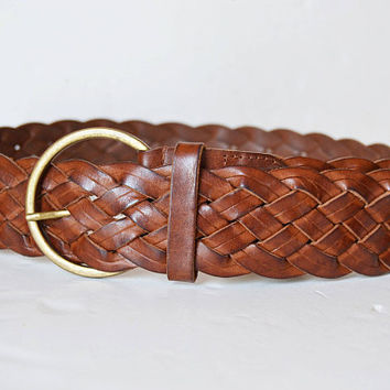 massimo dutti, leather belt, braided leather, brown belt, women's belt, wide belt, braided belt, size 70
