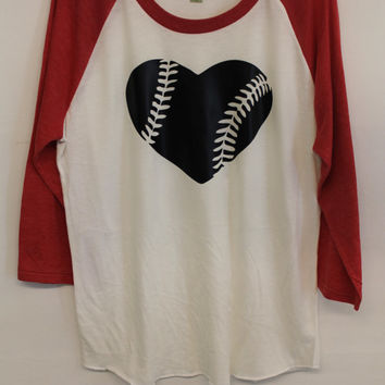 3/4 Length Baseball style Shirt with heart baseball
