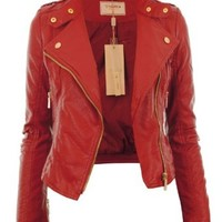 Gracious Girl Women's Diana Faux Leather Biker Crop Jacket - Red 4
