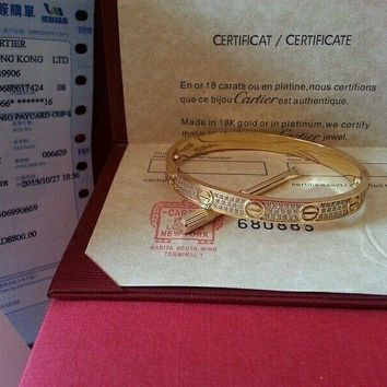 Cartier Love Bangle 18K Full drill Yellow Gold Bracelet Authentic Size 16