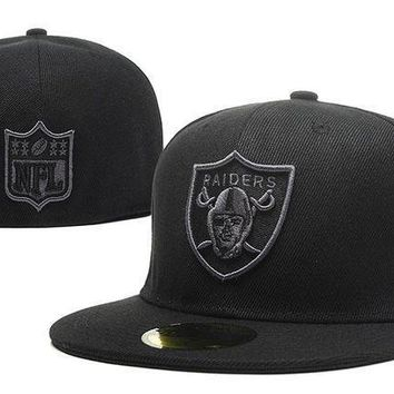Oakland Raiders New Era Nfl Cap Americana Ultimate 59fifty All Black Hat