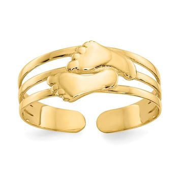 Bare Feet Toe Ring in 14K Yellow Gold