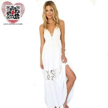 2017 Summer Style White Dress Women Casual Solid Lace Strapless Sexy A-line Long Dresses Plus Size Vestidos