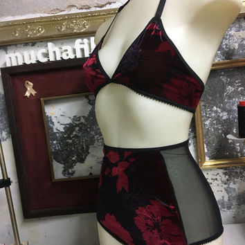 red velvet and roses lingerie set