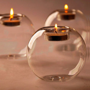 Modern Style Crystal Glass Candle Holder