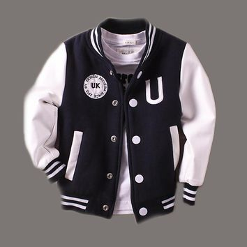 Baby Boys Jacket Clothes 2-14 years old Spring 2018 New Children Kids Baseball Outerwear Coats leather Sleeve infant jackets 360