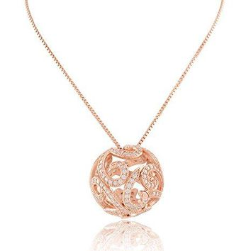 """Rose Gold Tone Sterling Silver Cz Filigree Ball Necklace 18"""""""