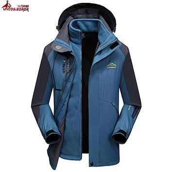 UNCO&BOROR plus size 6XL 7XL 8XL Two Pieces Winter jacket men women Windproof Waterproof warm outwear thicken snow parka coats