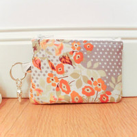 Gray floral coin purse by Reneeloveandco