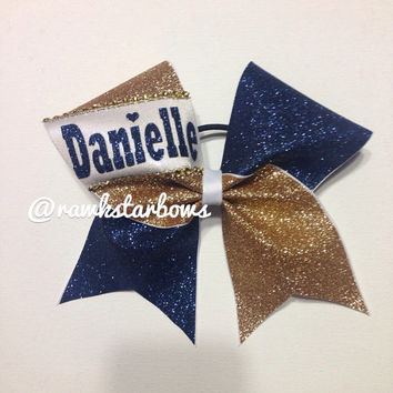 Navy Gold Glitter Custom Cheer Bow