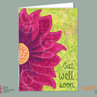 GET WELL SOON, Quilted Card, Greeting Card, Quilted Fabric Flower, Printed Card, Blank 5 x7 w/ envelope, Sunflower, purple cone flower