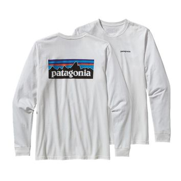 Patagonia Men's Long-Sleeved P6 Logo Cotton T-Shirt | White