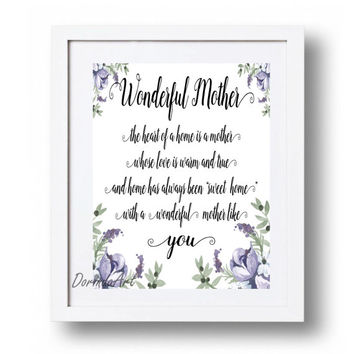 Mothers day poem print Printable gift for Mum Purple watercolor flowers Mothers day gift Mother's day quote Wall art poster INSTANT DOWLOAD