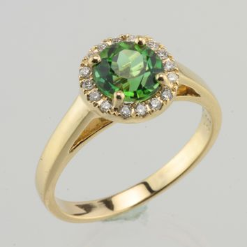 Green Tourmaline with Diamond Halo 18kt yellow gold ring