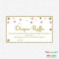 Twinkle Twinkle Little Star Baby Shower, Diaper Raffle Ticket, Diaper Raffle Sign and Raffle Cards, Pink Gold Baby Shower, Printable, STPG