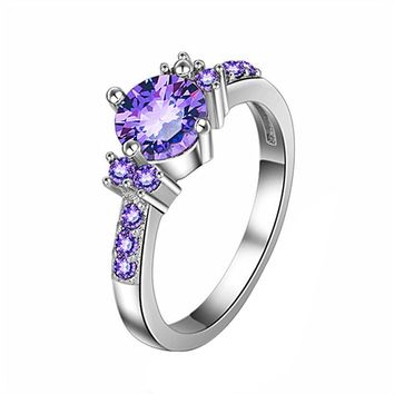 Purple Crystal Engagement Ring