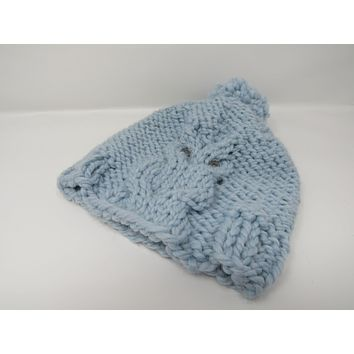 Handcrafted Knitted Hat Beanie Light Blue Owl Acrylic Wool Pom Pom Female Adult -- New No Tags