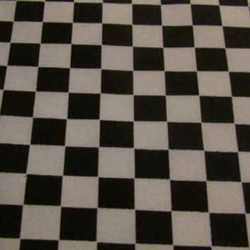 "140914 1 Yard Of Polished Cotton Fabric / Fabric By The Yard / 1960s Mod Fabric / Race Car Checkerboard Fabric / 60"" wide x 36"" length"