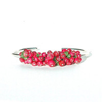 Beautiful Mystic Ruby Cuff / Green Tsavorite Gemstone / Sterling Silver Bangle / Wire Wrapped / Pink Red Bracelet / Gifts For Her / OOAK