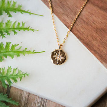 Delicate gold compass necklace | Simple dainty gold plated CZ celestial layering necklace | Graduation gift | Mother's Day gifts for her |