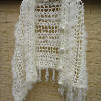 crochet warps shawls Ivory Lace Shrug with fur Two Ways Fringed