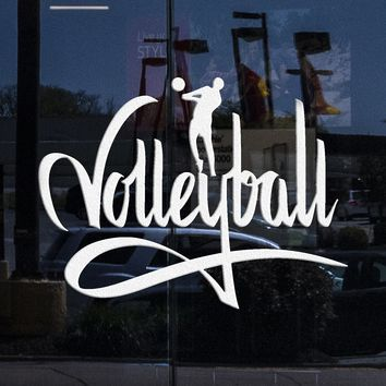 Window Glass Door Decor Stickers Vinyl Decal Volleyball I Love Volleyball (z1144w)