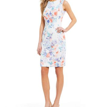 Calvin Klein Scuba Floral Print Sheath Dress | Dillards