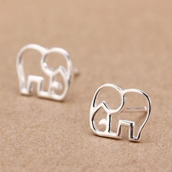 Trusta Women's 100% 925 Sterling Silver Jewelry Fashion cute Tiny Elephant Stud Earrings Gift for Girls Friend Kids Lady  DS27