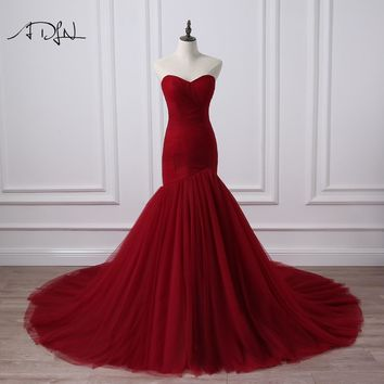 ADLN Real Photo Corset Bodice Mermaid Wedding Dress Burgundy Bridal Gowns Robe De Mariage Rouge 2018 Plus Size Available