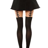 The Bow Garterbelt Pantyhose in Black