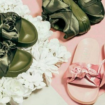 PUMA fenty rihanna silk slides sneakers-spring-Bow Slide Sandals Shoes 10-color Army green-Light pink