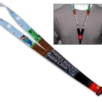 Minecraft PC XBOX 360 Steve Creeper Lanyard Necklace ID Holder Cosplay Costume