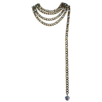 1990s Chanel gilded metal curb chain and rhinestones belt / necklace