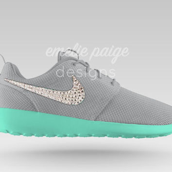 Custom Nike Roshe Run (Gray Mint Sole) running shoes with Swarovski Crystals 97c3f3f82