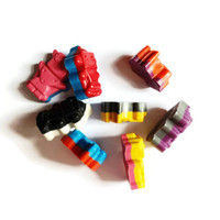 8 RAINBOW ROBOT CRAYONS  recycled & handmade from broken crayons
