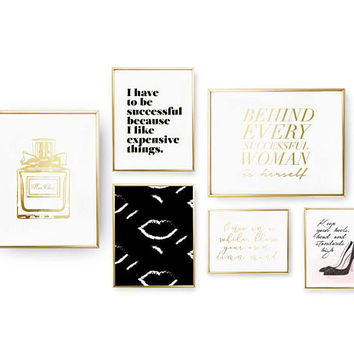 SET of 6 Prints, Successful Woman Set, Perfume Print, Inspirational Art, Lips Painting Print, Home Decor, Gold Foil Print, Calligraphy Print