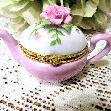 Teapot box pill trinket Box Pink Rose Porcelain Ceramic Pottery Hand painted kiln fired by B.Marsh