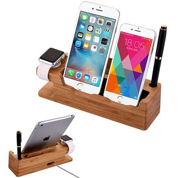Bamboo Charging Dock Station Charger Holder Stand For Apple Watch iPhone iWatch